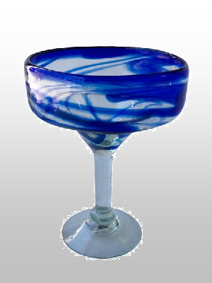 MEXICAN GLASSWARE / Cobalt-Swirl-Margarita-Glass