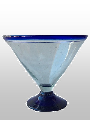 MEXICAN GLASSWARE / Stemless-Cobalt-Blue-Rim-Martini-Glass