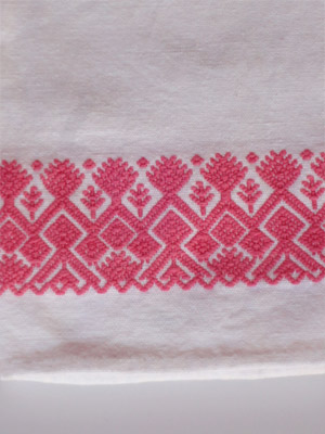 MEXICAN TEXTILES / Pink handwoven hand towel