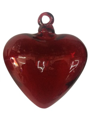 COLORED GLASSWARE / Red Blown Glass Hanging Hearts Jumbo size (set of 3)