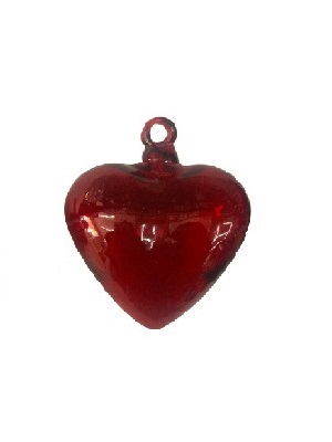 COLORED GLASSWARE / Red Blown Glass Hanging Hearts Large (set of 6)
