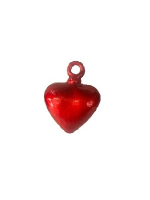 COLORED GLASSWARE / Red Blown Glass Hanging Hearts Medium (set of 6)