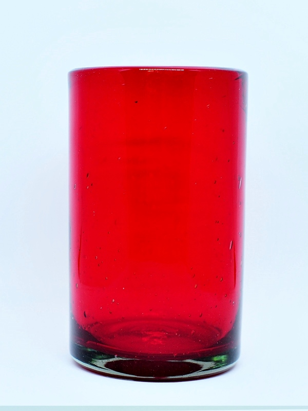 COLORED RIM GLASSWARE / Solid Ruby Red drinking glasses (set of 6)