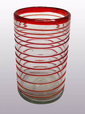 MEXICAN GLASSWARE / 'Ruby Red Spiral' drinking glasses (set of 6) / These elegant glasses covered in a ruby red spiral will add a handcrafted touch to your kitchen decor.