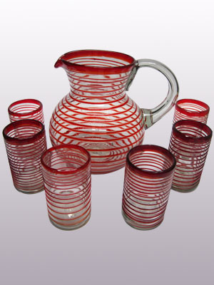 AMBER RIM GLASSWARE / 'Ruby Red Spiral' pitcher and 6 drinking glasses set