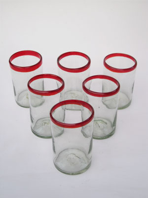 COLORED GLASSWARE / 'Ruby Red Rim' drinking glasses (set of 6)