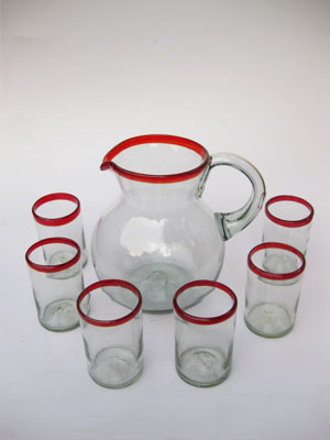 MEXICAN GLASSWARE / 'Ruby Red Rim' pitcher and 6 drinking glasses set / Bordered in beautiful ruby red, this classic pitcher and glasses set will bring a colorful touch to your table.