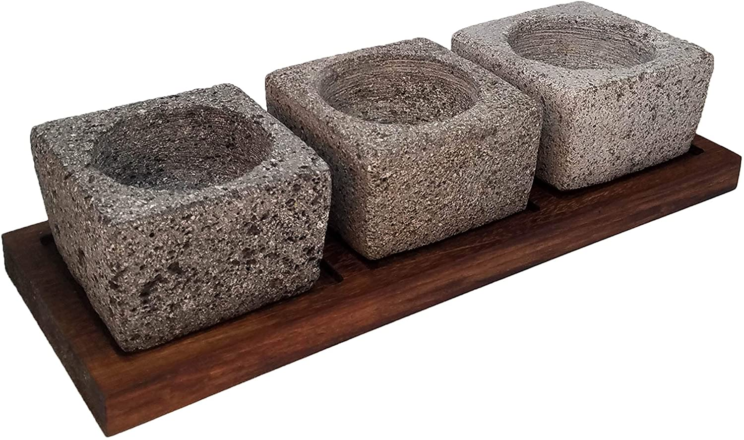 VOLCANIC ROCK PRODUCTS / Set-of-3-Small-4''-Mortars-with-Parota-Wood-Serving-Board