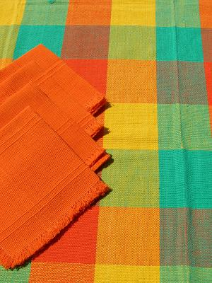 MEXICAN TEXTILES / Cotton Tablecloth with napkins Plaid Yellow Green Orange 47'' Square (4 people)