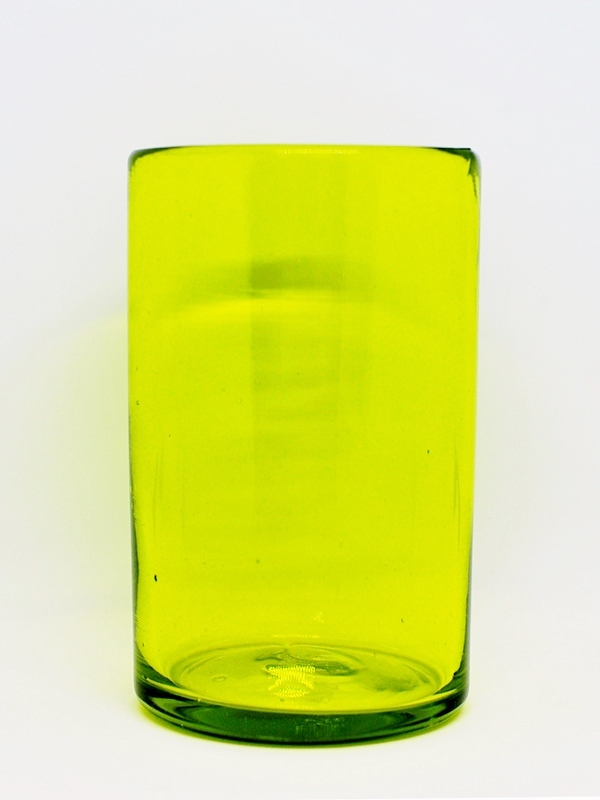 COLORED RIM GLASSWARE / Solid Yellow drinking glasses (set of 6)